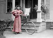Early Photography Originals - The Cycling Lady by Jan Faul