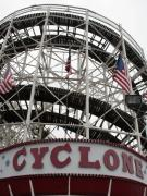 Amusement Parks Posters - The Cyclone at Coney Island Poster by Christopher Kirby