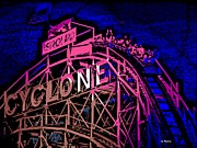 Roller Coaster Posters - the Cyclone at Coney Island Poster by George Pedro