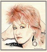 Bands Drawings Prints - The Cyndi Lauper Print by Dan Clewell