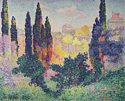 Dots Painting Framed Prints - The Cypresses at Cagnes Framed Print by Henri-Edmond Cross