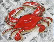 Newspaper Mixed Media Framed Prints - The Daily Crab Framed Print by JoAnn Wheeler