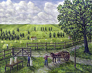 Horse And Cart Paintings - The Dairy Farm by Ronald Haber