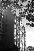 Park Scene Digital Art Prints - THE DAKOTA in BLACK AND WHITE Print by Rob Hans