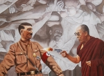 Hitler Paintings - The Dalai Lama Shoots Adolph Hitler by Allan OMarra