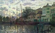 Town Docks Framed Prints - The Dam at Zaandam Framed Print by Claude Monet