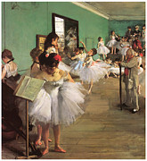 Ballerinas Framed Prints - The Dance Class Framed Print by Edgar Degas