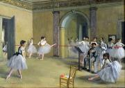 Stretching Posters - The Dance Foyer at the Opera on the rue Le Peletier Poster by Edgar Degas