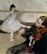 Musical Pastels Posters - The Dance Lesson Poster by Edgar Degas