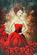 Artist Christine Krainock Framed Prints - The Dancer in the Red Dress Framed Print by Christine Krainock