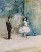 Impressionist Drawings Framed Prints - The Dancer Framed Print by Jean Louis Forain