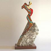 Tribal Art Glass Art - The Dancer by Lindsay Ferreira