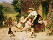 Charming Cottage Painting Posters - The Dancing Bear Poster by Frederick Morgan