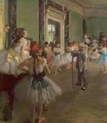 Class Painting Framed Prints - The Dancing Class Framed Print by Edgar Degas