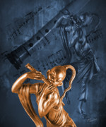 Sheet Music Digital Art - The Dancing Flutist by Judi Quelland