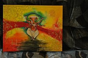 Vinayaka Paintings - The Dancing Ganesha by Meena Subbu