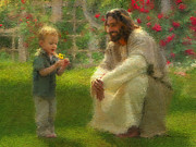 Smiling Jesus Painting Posters - The Dandelion Poster by Greg Olsen