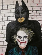The Dark Knight Paintings - The Dark Knight and Joker by Anita Visone