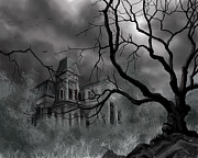 Gothic Horror Posters - The Dark Mansion Poster by James Christopher Hill