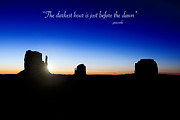 Inspirational Saying Posters - The darkest hour..... Poster by Jane Rix