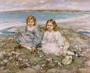 Cute Painting Posters - The Daughters of Bertram Roberts Poster by Edward Atkinson Hornel