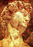 Statues Digital Art Prints - The David By Michelangelo Print by Juan Jose Espinoza
