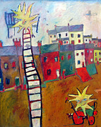   Of Pianos Paintings - The Day Yhe Sun Came Down For Ride On My Trike by Roger Phillpot
