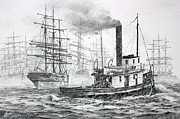 Fine Art Drawing Originals - The Days of Steam and Sail by James Williamson