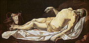Virgin Mary Paintings - The Dead Christ by Charles Le Brun