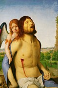 Wound Posters - The Dead Christ Supported by an Angel Poster by Antonello da Messina