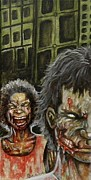 Monsters Painting Posters - The Dead Invade Emerald City 3 Poster by Al  Molina