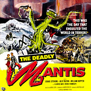 1950s Poster Art Framed Prints - The Deadly Mantis, 6-sheet Poster Art Framed Print by Everett