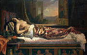 Cushion Painting Metal Prints - The Death of Cleopatra Metal Print by German von Bohn