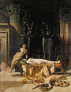 Goddess Of Death Framed Prints - The Death of Cleopatra  Framed Print by John Collier