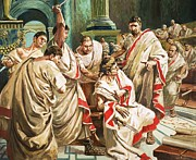 Court Prints - The death of Julius Caesar  Print by C L Doughty