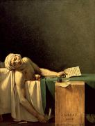 Letter Painting Framed Prints - The Death of Marat Framed Print by Jacques Louis David