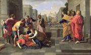 Bible Prints - The Death of Sapphira Print by Nicolas Poussin