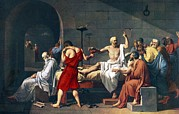 Ancient Greek Framed Prints - The Death Of Socrates, 1787 Artwork Framed Print by Sheila Terry