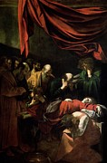 Virgin Mary Framed Prints - The Death of the Virgin Framed Print by Caravaggio