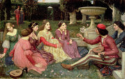 Medieval Painting Posters - The Decameron Poster by John William Waterhouse