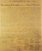 July 4th Painting Metal Prints - The Declaration of Independence Metal Print by Founding Fathers