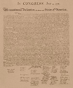 4th July Drawings Metal Prints - The Declaration of Independence Metal Print by War Is Hell Store
