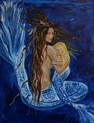 Sleeping Mermaid Art - The Deepest Love by Leslie Allen