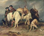 Hunters Posters - The Deerstalkers Return Poster by Sir Edwin Landseer
