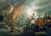 Sailboats In Water Painting Posters - The Defeat of the Floating Batteries at Gibraltar Poster by John Singleton Copley