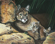 Big Cat Pastels Posters - The Den Mother Poster by Deb LaFogg-Docherty