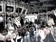 Horses Pyrography Prints - The Dentzel Carousel - Glen Echo Park Print by Fareeha Khawaja