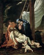 Mother Mary Metal Prints - The Deposition Metal Print by Nicolas Poussin
