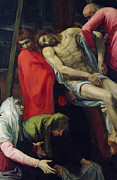 Jesus Painting Prints - The Descent from the Cross Print by Bartolome Carducci