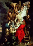Peter Paul (1577-1640) Paintings - The Descent from the Cross by Peter Paul Rubens